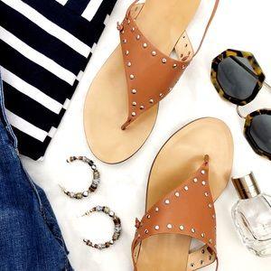 J. Crew Cognac Studded Ankle Tie Thong Sandals